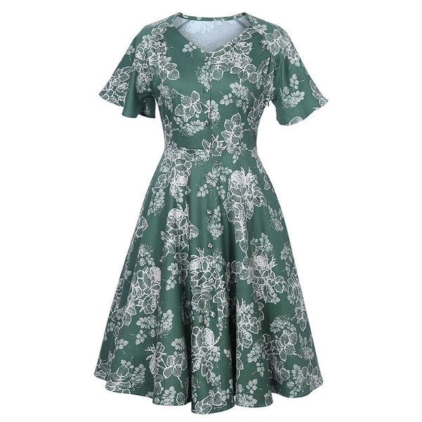 vintage dresses green floral a-line mid-calf short flare sleeve women dress 1950s summer
