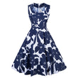 vintage dresses women summer print floral a-line sleeveless party dress elegant female