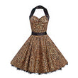 vintage halter dress women sleeveless a line strapless backless leopard print sexy party