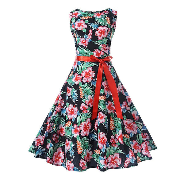 vintage summer dress print floral a-line women cute party sleeveless bow tie female