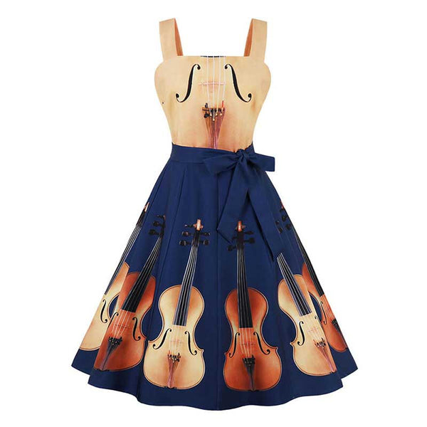vintage summer dress women blue print party patchwork floral violin backless cute bow