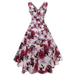 vintage women dress summer print sleeveless a line scissors vacation party retro fashion
