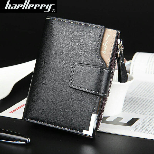 wallet men  leather multifunction men wallets zipper coin pocket trifold purse card holder hasp wallet zipper purse small