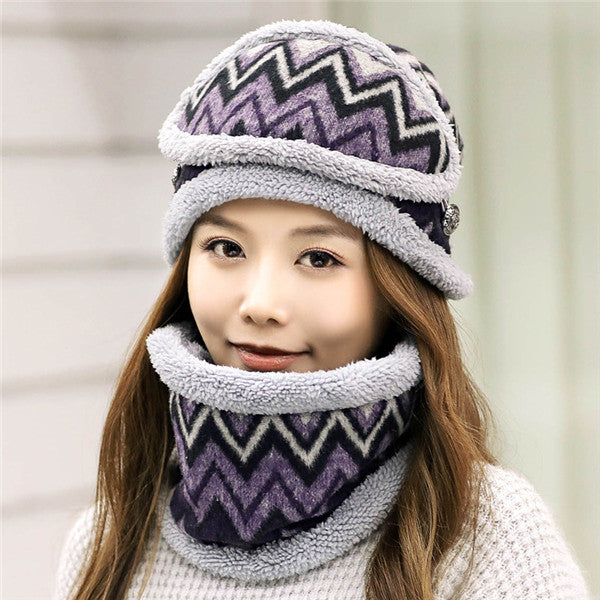 winter snow wear mask+collar+plush hat three pc sets wave print warm girls cap scarf suits women fashion hats accessories