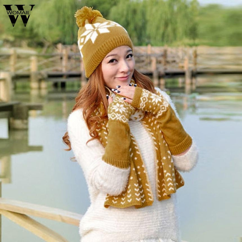 494d4e6de26 woman winter hat and gloves set women Knitted hat scarf gloves set Bea –  Beal