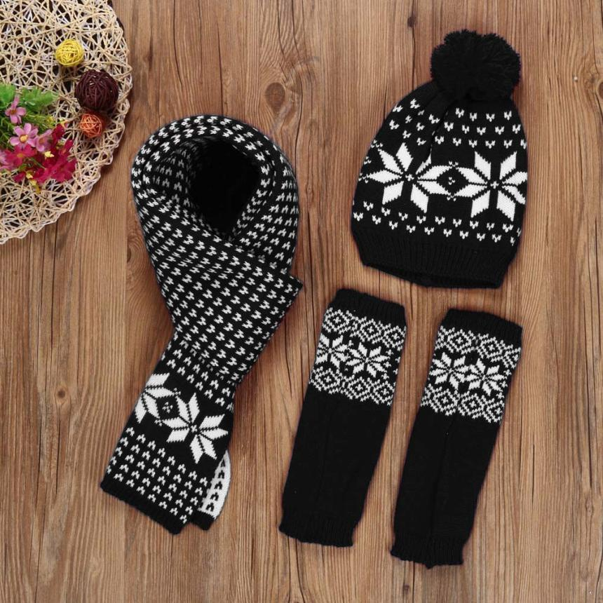Woman Winter Hat And Gloves Set Women Knitted Hat Scarf Gloves Set