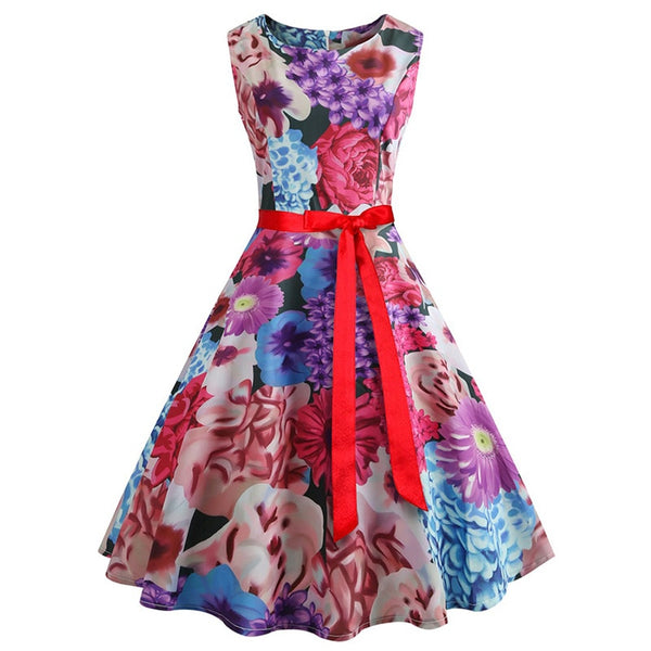 women 50s vintage floral print dress 2018 summer slim sleeveless a line o-neck sashes