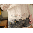 women autumn fashion white lace blouse 2016 fashion sexy long sleeve slash neck crochet tops spring korean shirt clothes A808