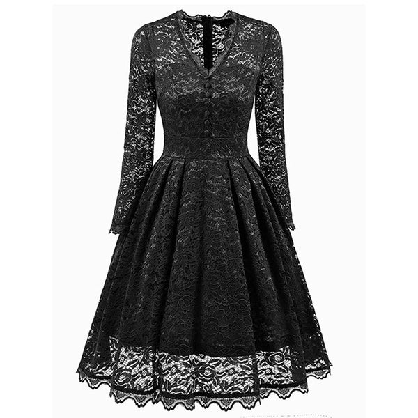 women dress vintage a line autumn winter long sleeve party dress lace solid v neck sexy
