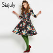 women dresses autumn a line knee length long sleeve v neck elegant natural female print