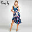 women summer vintage dress floral animal print rockabilly bow sashes dresses sleeveless