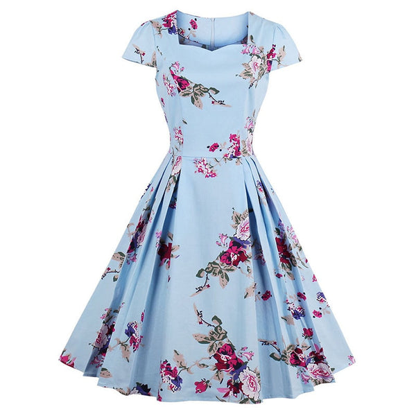 women vintage cotton dress summer floral print a-line square collar pleated short sleeve
