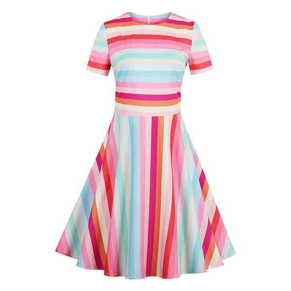 women vintage dress 1950s retro summer patchwork rainbow dress stripe short sleeve o neck