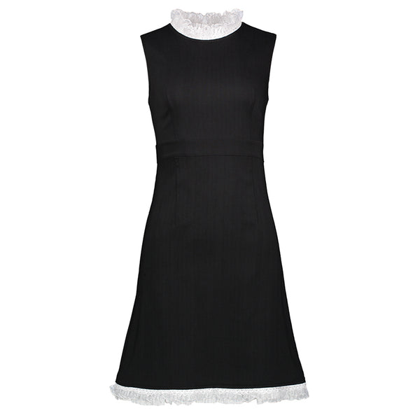 women vintage dress solid dresses sleeveless knee-length stand collar black lace dress