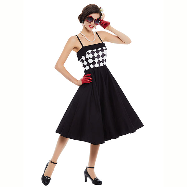 women vintage dress strapless plaid patchwork sleeveless black pin up summer 1950s style