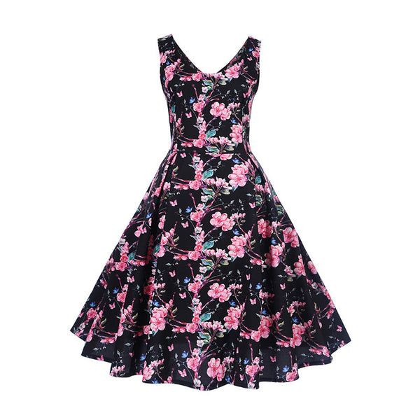 women vintage dress summer floral print stylish refined dresses a line mid calf