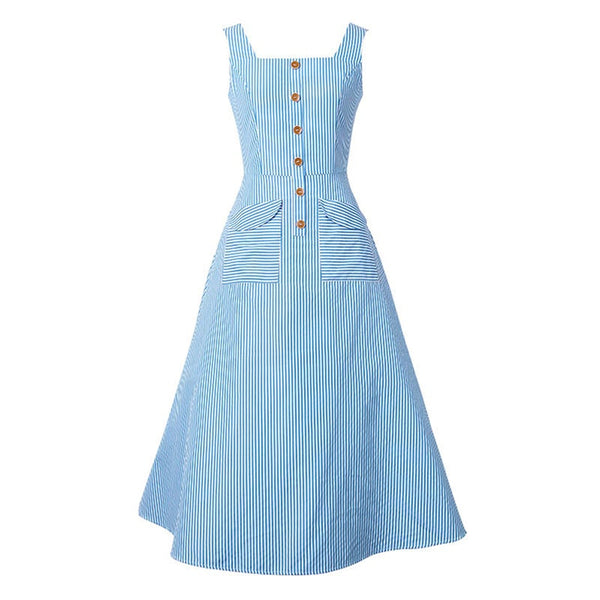 women vintage summer dress stripe retro light blue dresses pockets buttons slim summer