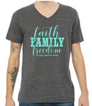 Faith Family Freedom Rockport Warriors United Grey short sleeve shirt