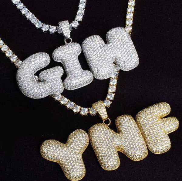 Custom made bubble letter pendants iced out legends custom made bubble letter pendants aloadofball Image collections