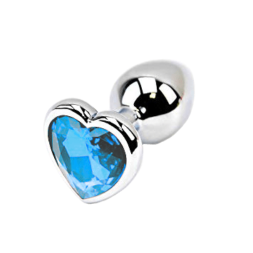 Light Blue Heart-shaped Stainless Steel Plug, Large