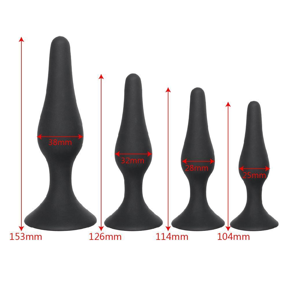 4 Sizes Available Black Silicone Plug