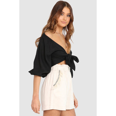 MIRAY LINEN BLEND CROP TOP BLACK