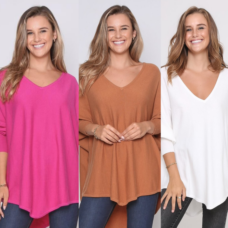 Three Zali Knit Tops Bundle - Fuschia / Caramel / White