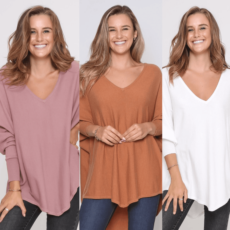 Three Zali Knit Tops Bundle - Blush / Caramel / White