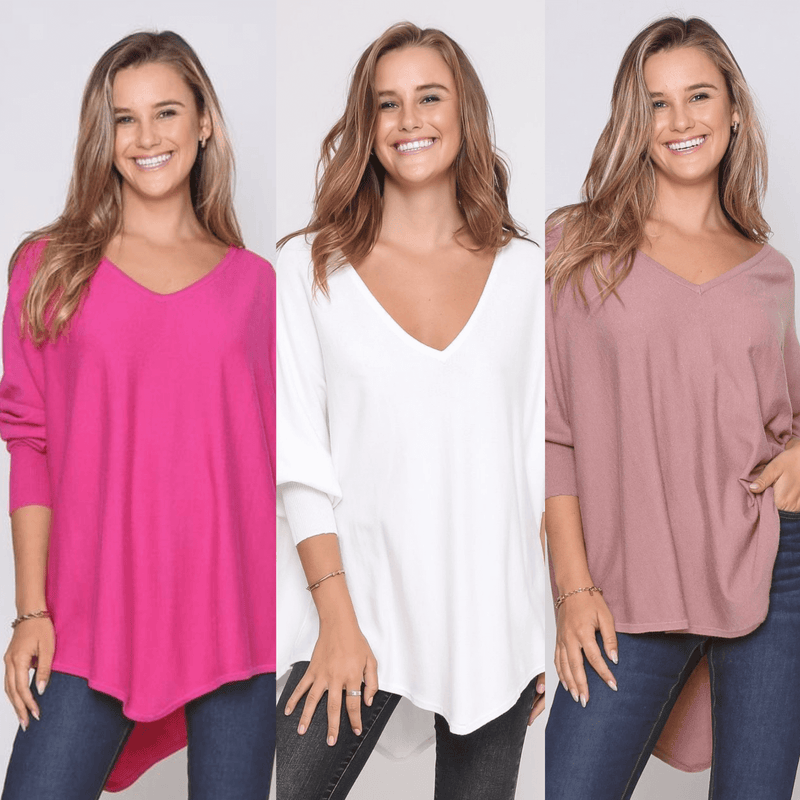 Three Zali Knit Tops Bundle - Fuschia / White / Blush