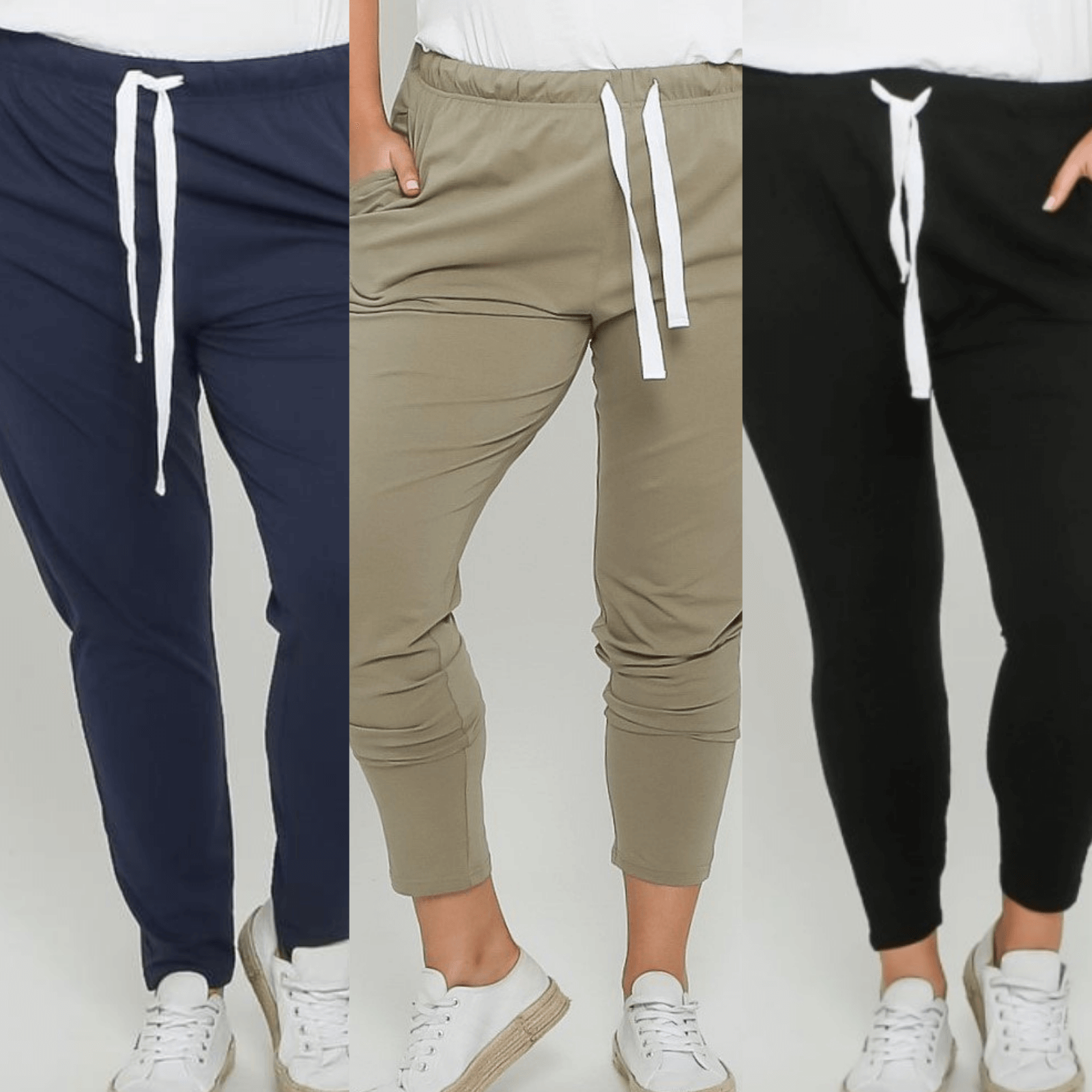 Emily Curve Joggers Three Pair Bundle - Navy, Khaki and Black