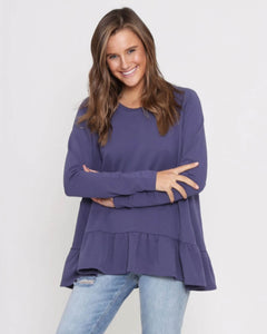 Holly Frill Top - Navy Purple
