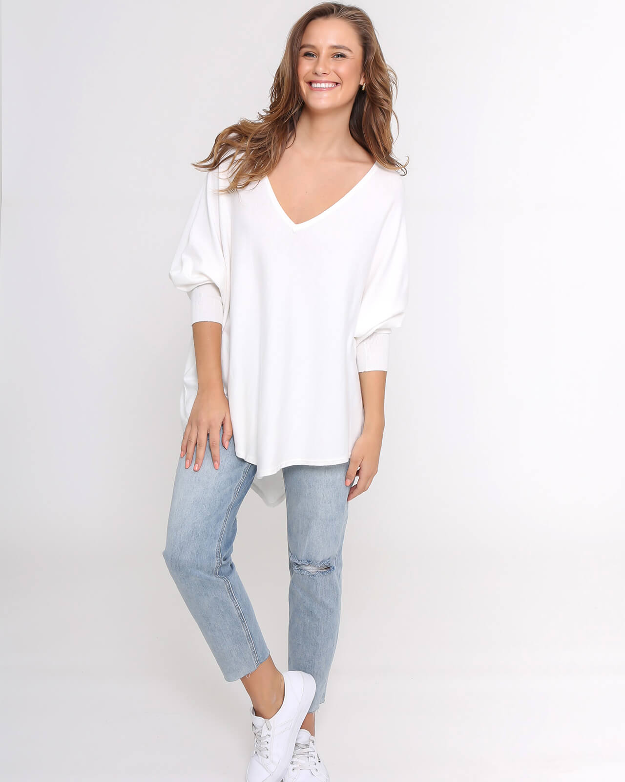 Zali Knit Top - White