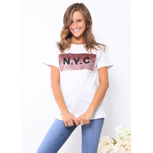 NYC Sequin Tee - White & Pink
