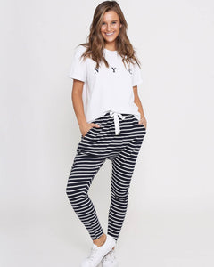 Jade Joggers - Navy Stripe IN STOCK