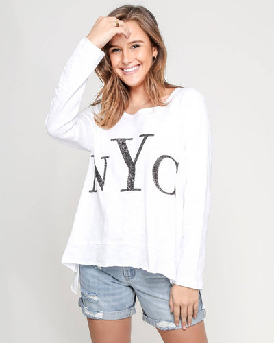 NYC Long Sleeve Sequin Top - White