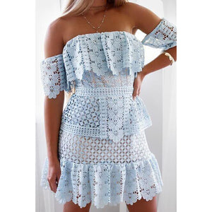 BELLE LACE FRILL MINI DRESS BABY BLUE