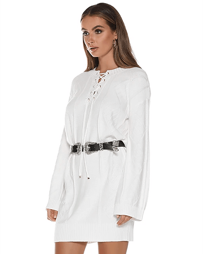 Carli Knit Dress - White