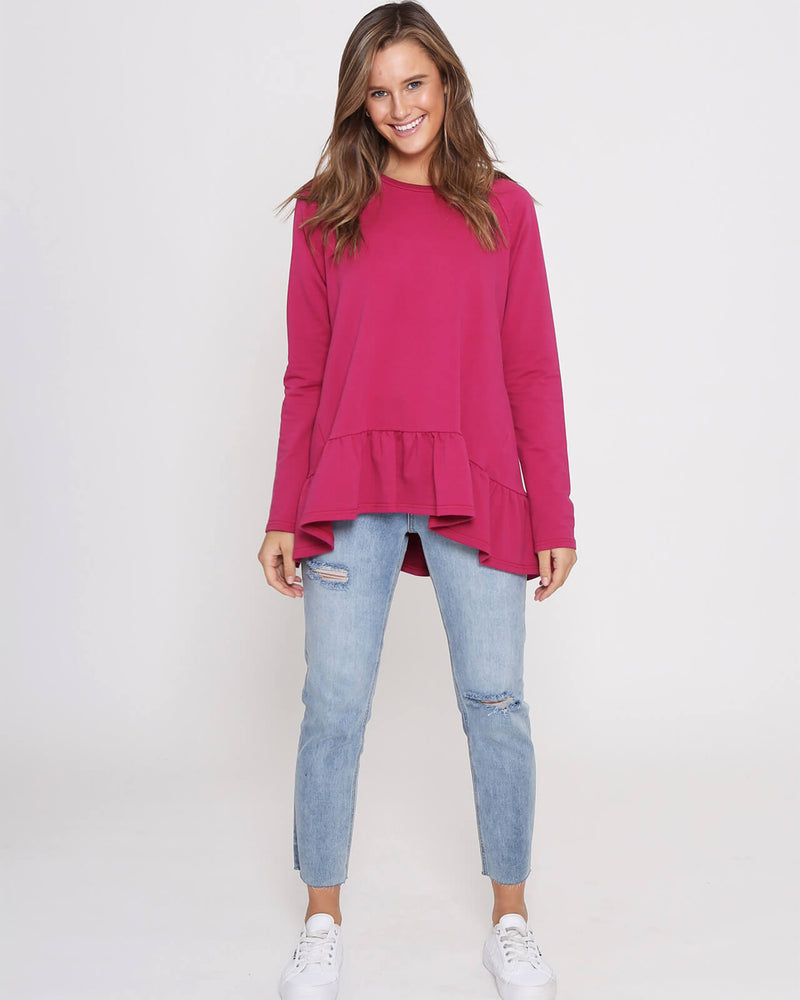 Holly Frill Top - Pink Wine