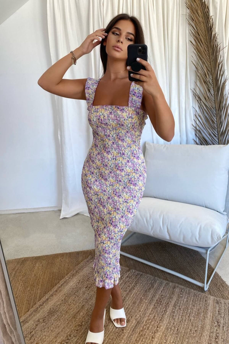Tina Midi Dress -  Sunset Floral