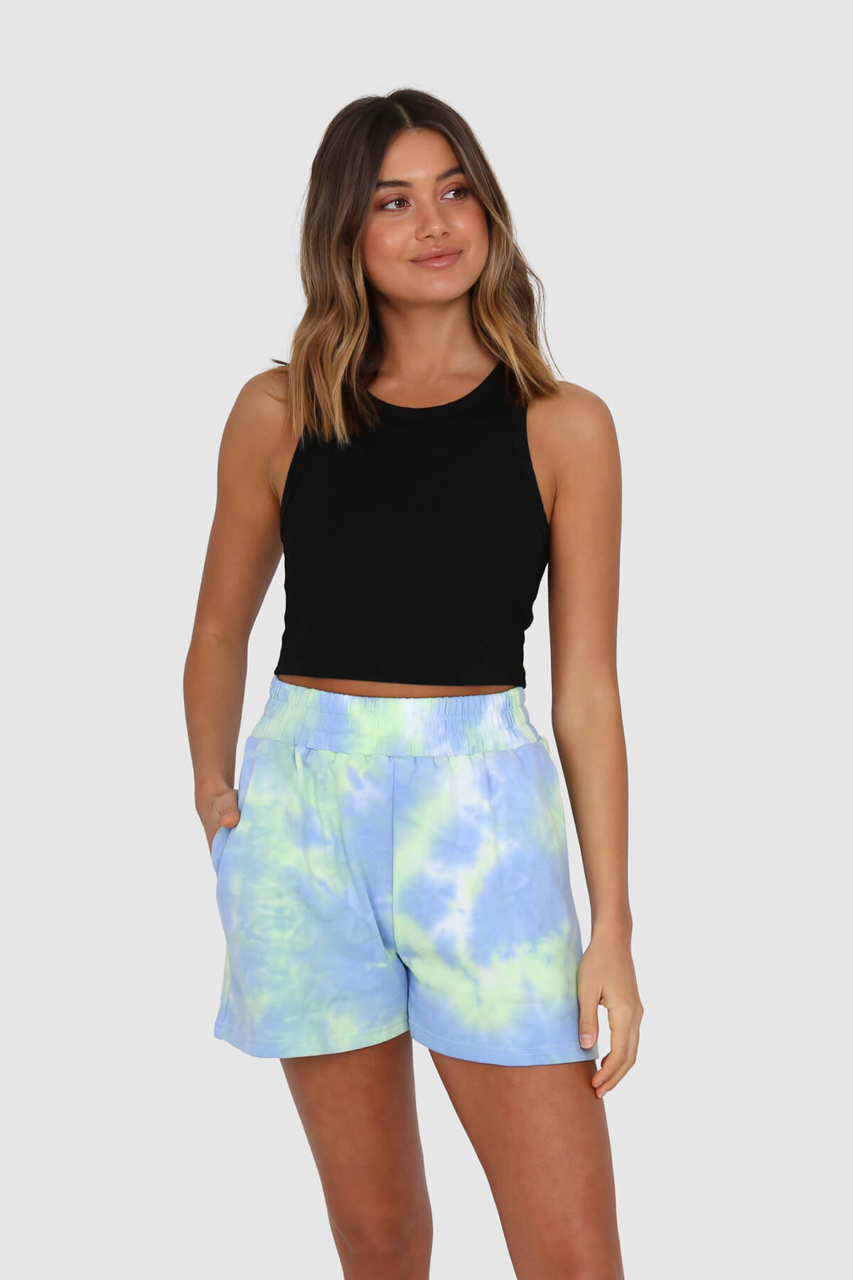 Lincoln Track Shorts - Sky Tie Dye