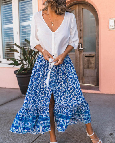 Indian Summer Boho Skirt - Blue