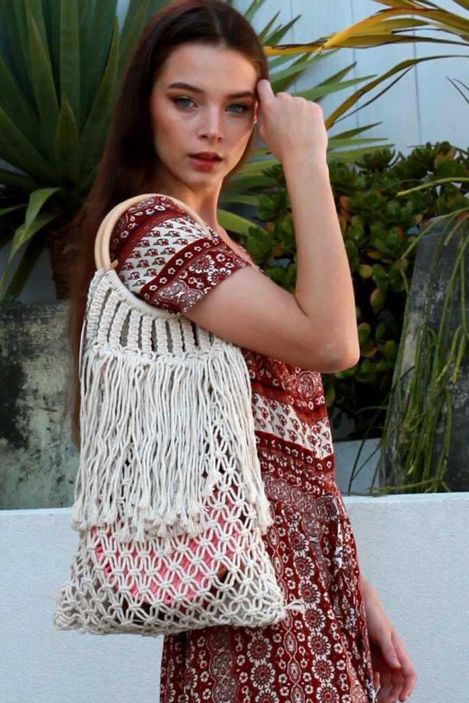 Crochet Beach Market Bag H0078- Instore