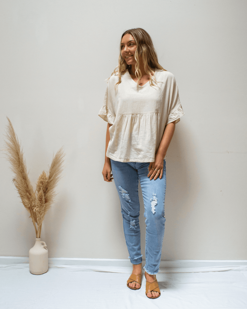 Jo Jo Linen Frill Top - Natural