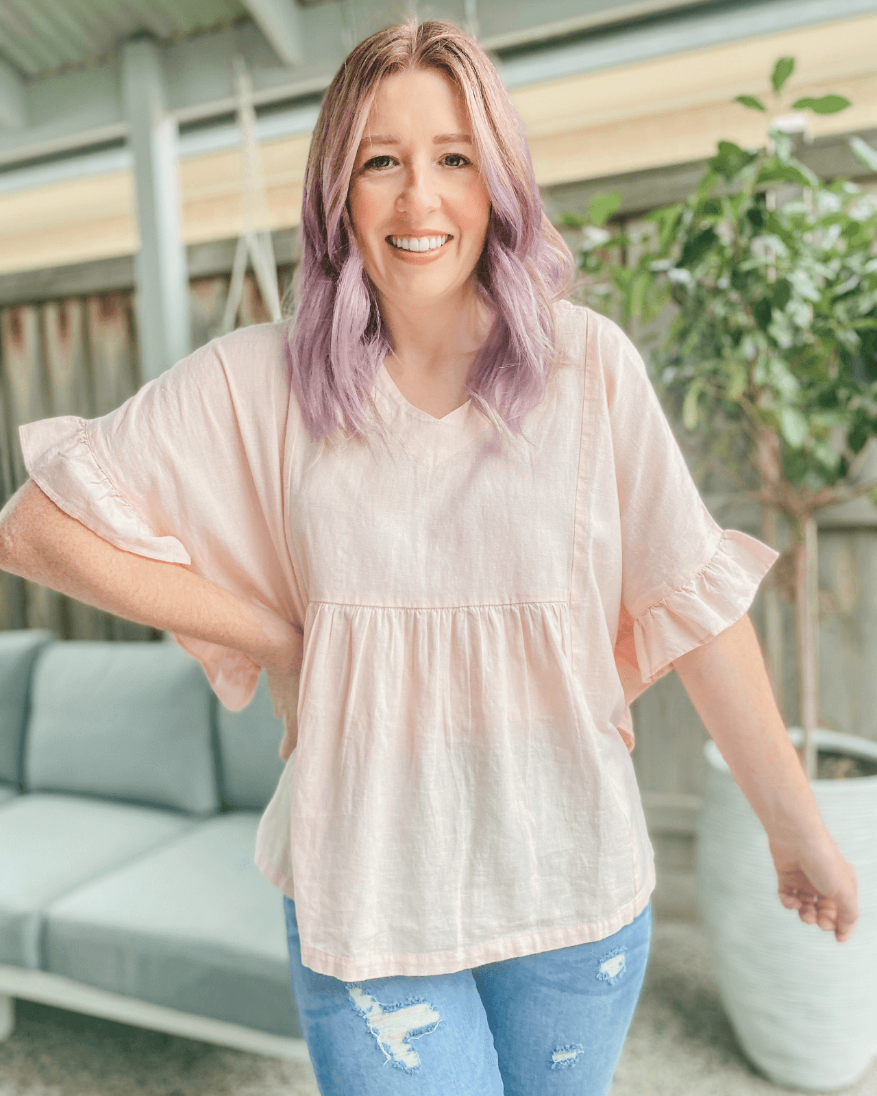 Jo Jo Linen Frill Top - Pale Blush