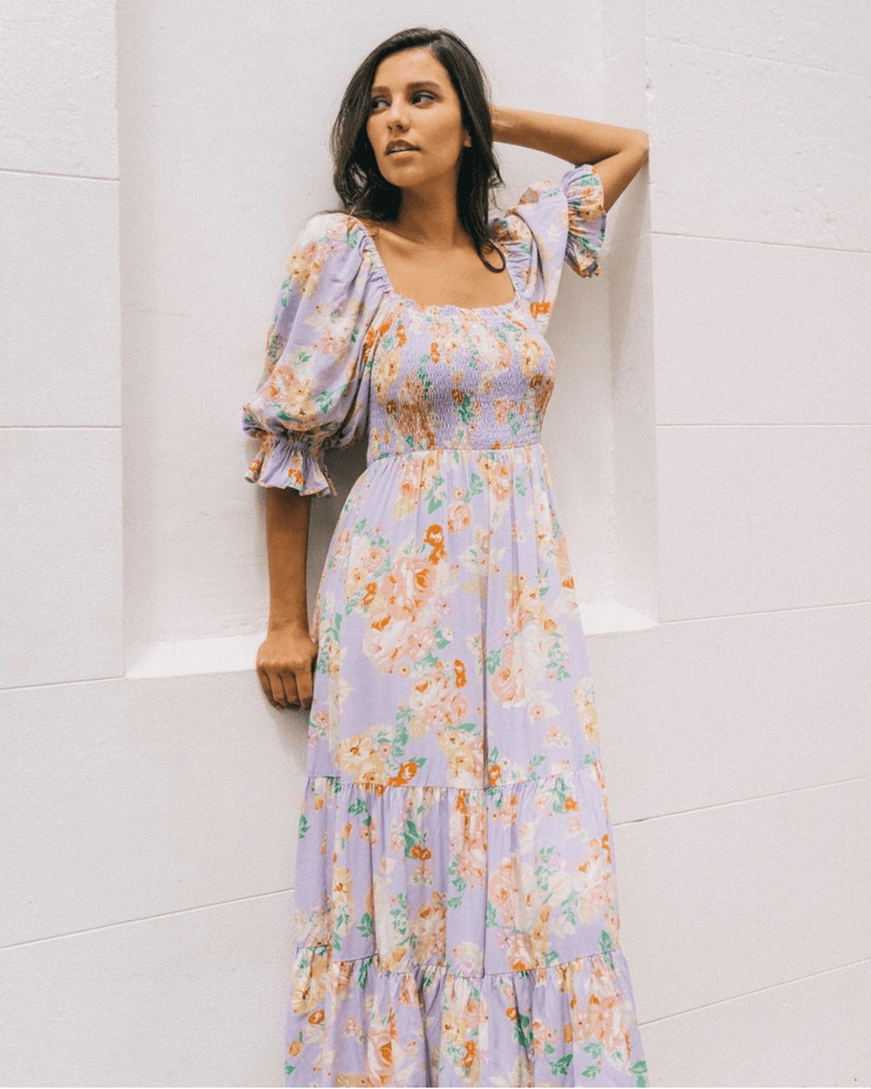 Beatrice Long Midi Dress - Lilac Floral