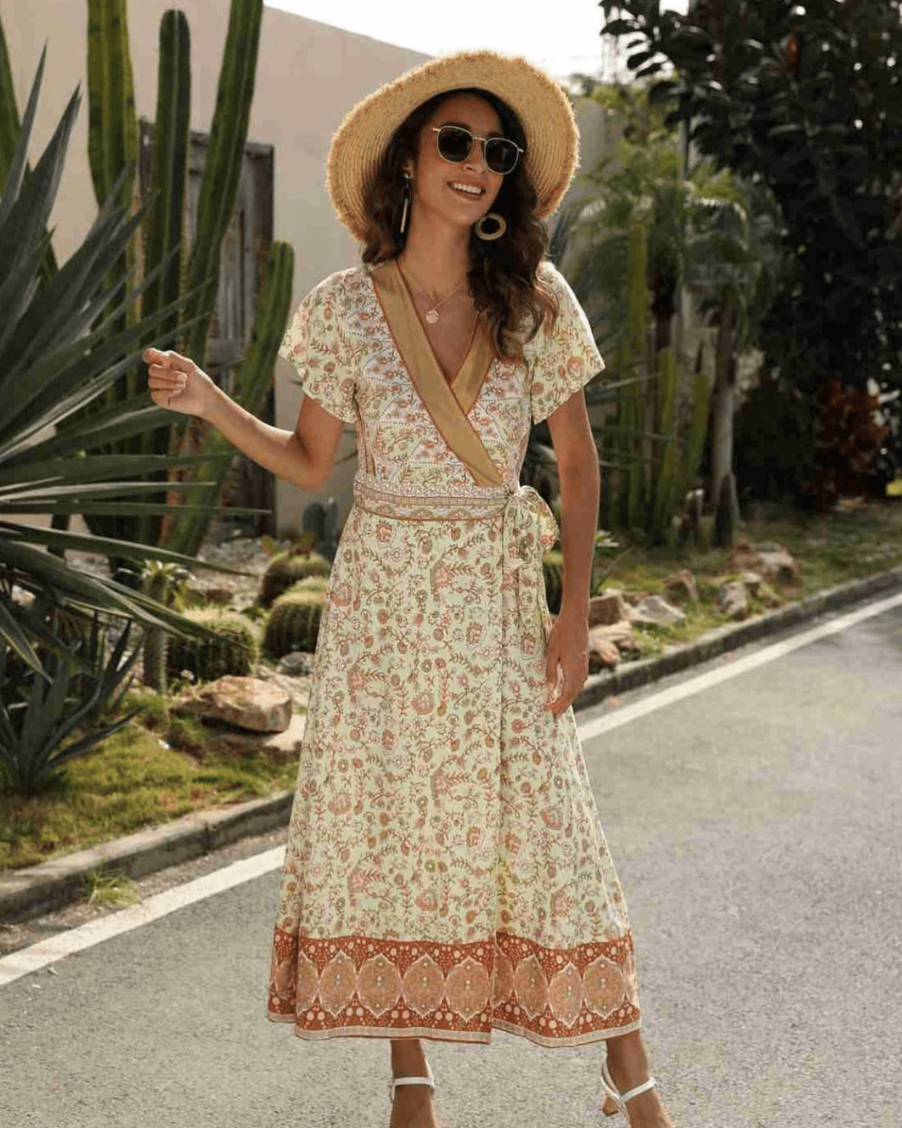 Gabby Wrap Maxi Dress - Pale Lime Green