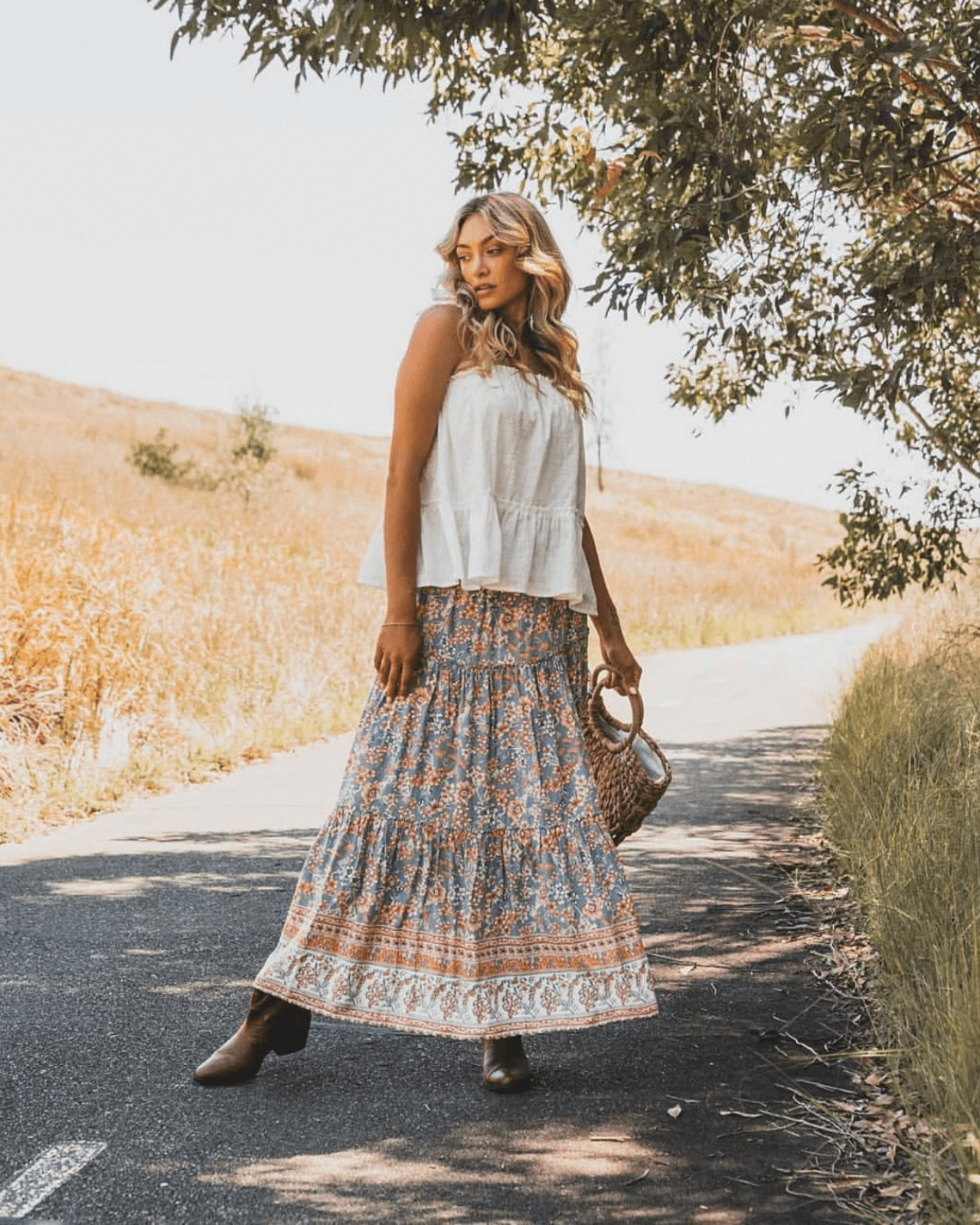Stevie Maxi Skirt - Vintage Blue