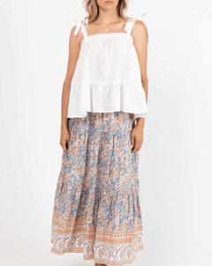 Macey Frill Top - White