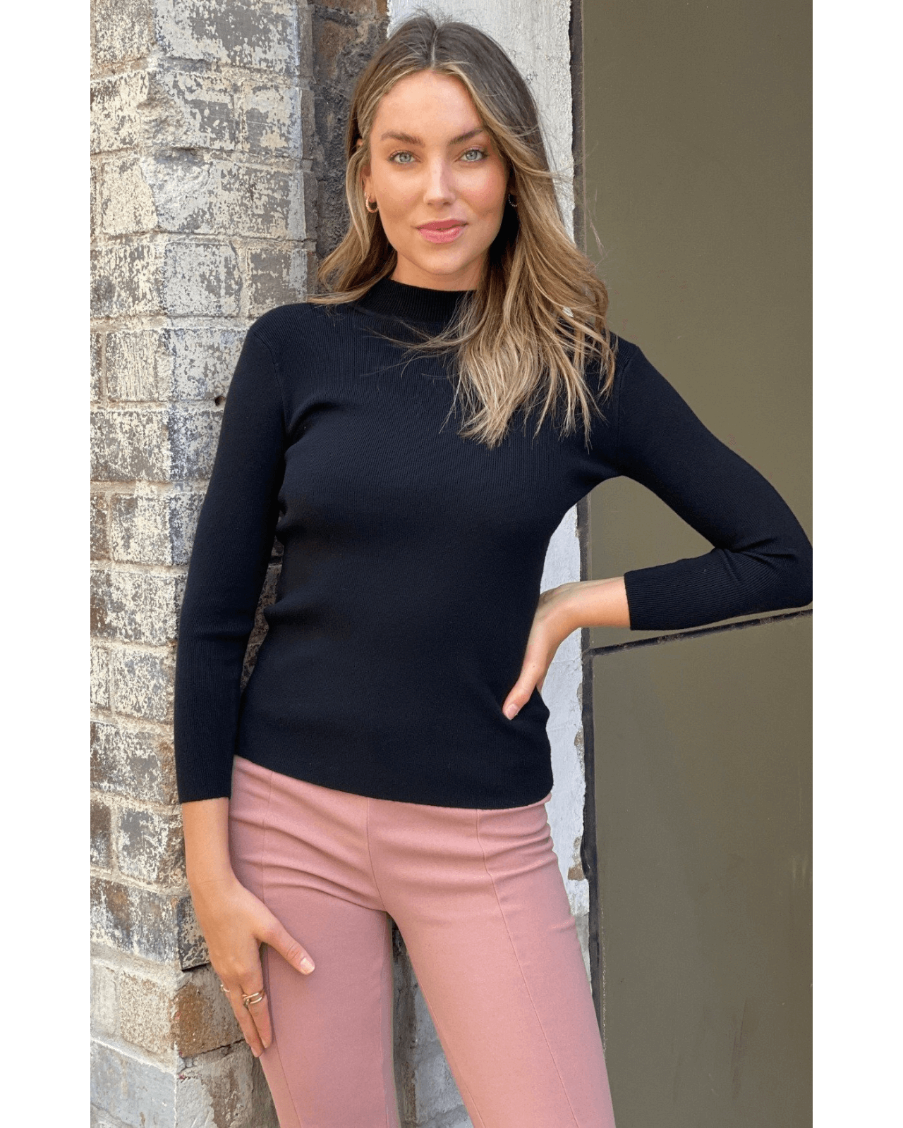 Sienna Long Sleeve Knit Top - Black
