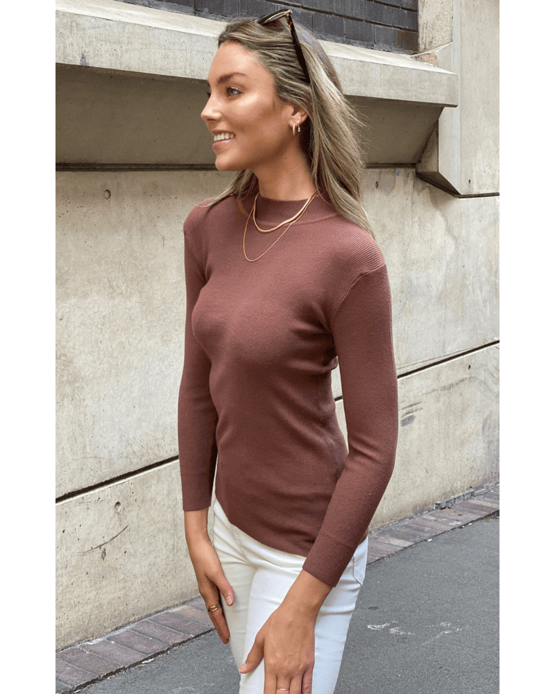 Sienna Long Sleeve Knit Top - Mocha